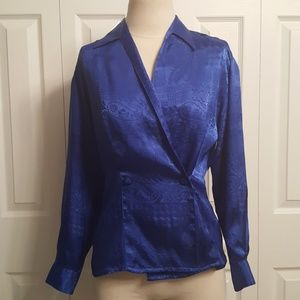 Oscar De La Renta Blue Ornate Blouse Size 8